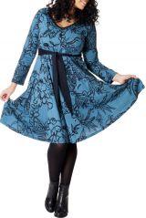 Robe à ceinture amovible Ethnique et Imprimée Bleue Kimmy 286695