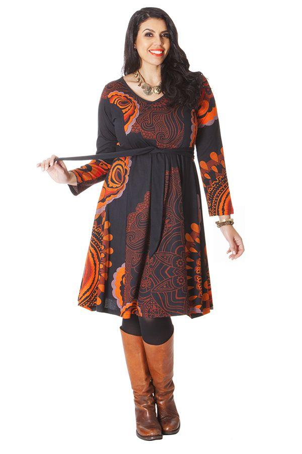 robe ceinture amovible ethnique et imprim e kimmy noire. Black Bedroom Furniture Sets. Home Design Ideas