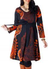 Robe à ceinture amovible Ethnique et Imprimée Kimmy Noire 286697