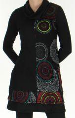 Robe à col cheminée Ethnique et Imprimée Tifaine Noire 276395