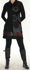 Robe à col cheminée Ethnique et Imprimée Tifaine Noire 276396
