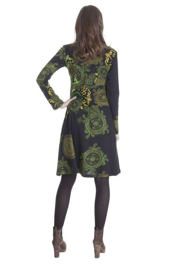Robe à col en V Imprimée et Ethnique Ramaya Noire et Verte 285417