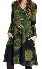 Robe à col en V Imprimée et Ethnique Ramaya Noire et Verte 286637