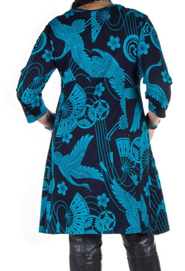 Robe a col rond courte tendance avec design Népalais Chokui 301324