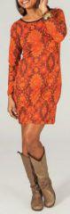 Robe à col rond et manches longues Originale et Imprimée Aina 274212