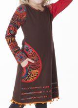 Robe à col rond imprimée unie marron pour fille 287209