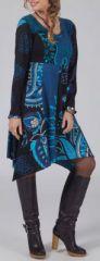 Robe à col rond Originale et Asymétrique Léona Bleue 274969