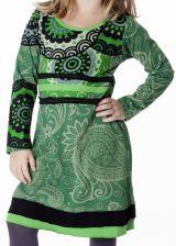 Robe à col rond pour enfant imprimé ethnique vert 287192