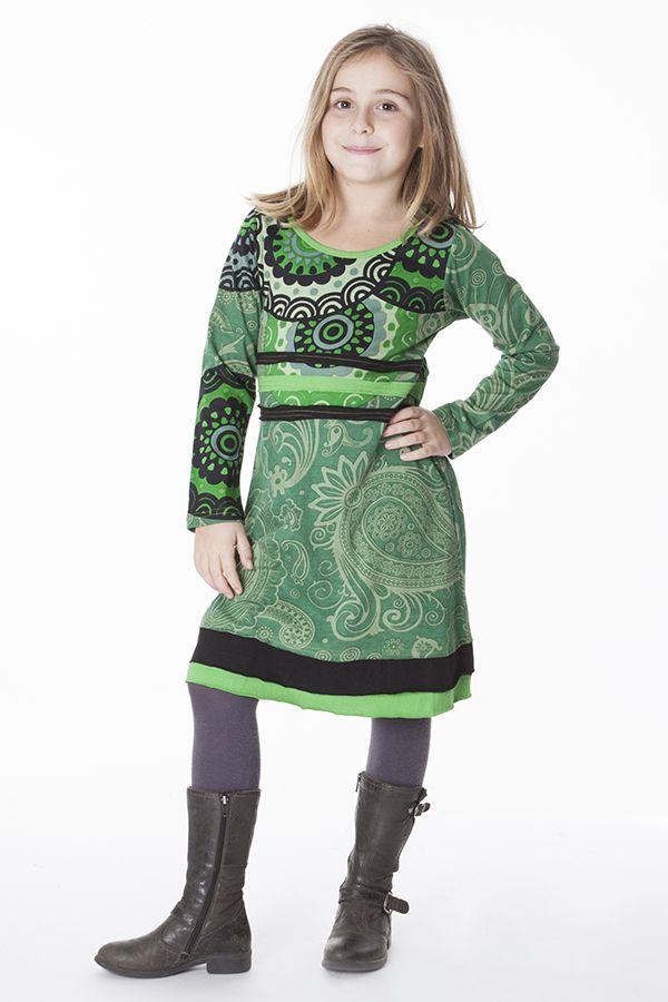 Robe à col rond pour enfant imprimé ethnique vert 287194