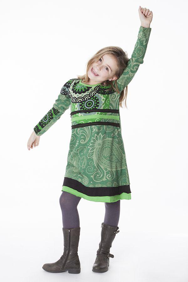Robe à col rond pour enfant imprimé ethnique vert 287195