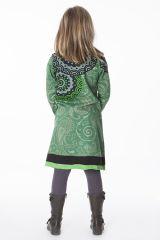 Robe à col rond pour enfant imprimé ethnique vert 287196