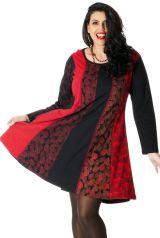 Robe à col rond Rouge Evasée et Ethnique Size + Layla 286972