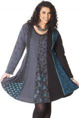 Robe à col rond Size + Ethnique et Evasée Layla Grise 286970
