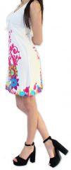 Robe à col V d'été Ethnique et Colorée Elenna Blanche 276932