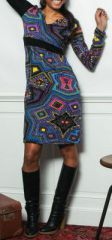 Robe à col V et manches longues Ethnique et Colorée Télia 274108