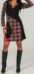 Robe à col V et manches longues Ethnique et Colorée Vahée 274122