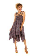Robe à dos nu convertible en jupe longue ethnique Gwen 306165