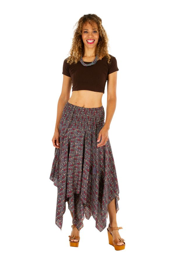 Robe à dos nu convertible en jupe longue ethnique Gwen 306166