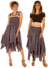Robe à dos nu convertible en jupe longue ethnique Gwen 306168