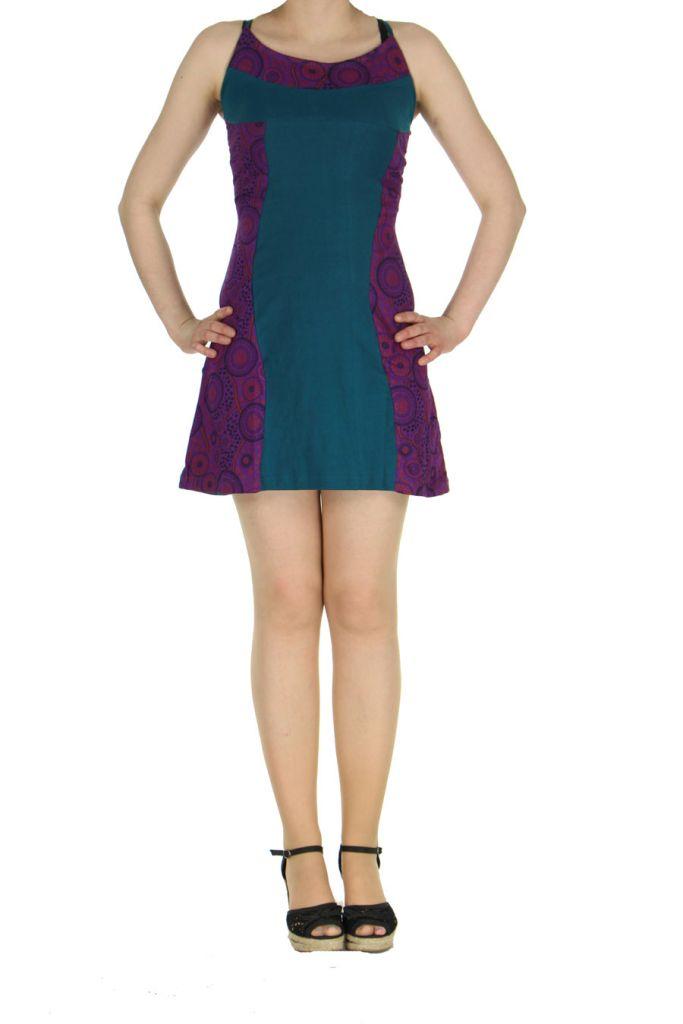 Robe à dos-nu ethnique bleue et violette Alida 268451