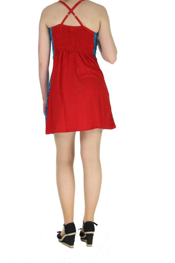 Robe à dos-nu ethnique rouge et bleue Alida 268450