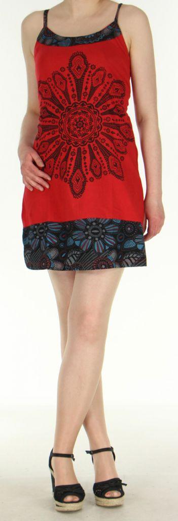 Robe à dos nu rouge en coton avec logo ethnique Mandala 270460