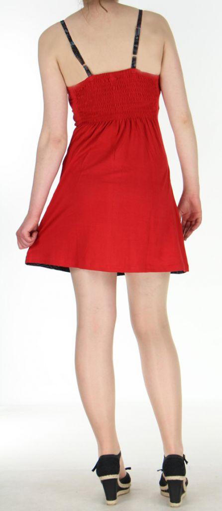 Robe à dos nu rouge en coton avec logo ethnique Mandala 270461