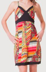 Robe à fines bretelles d'été Ethnique et Colorée Clarisa Orange 276893