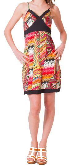 Robe à fines bretelles d'été Ethnique et Colorée Clarisa Orange 276894