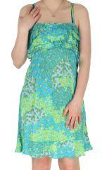 Robe à fines bretelles Imprimée et Colorée Dalaja Turquoise 285112