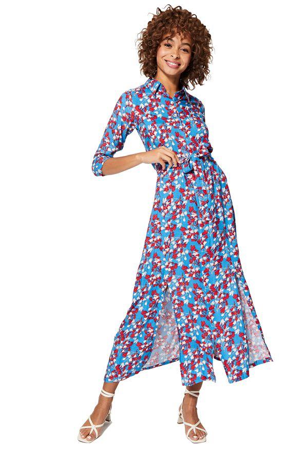 Robe à fleurs longue femme à manches chic de soirée Mercy