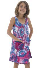 Robe à larges bretelles pour fillette Ethnique Leonita Blanche 296263