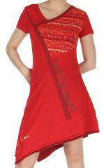 Robe à manches courtes Asymétrique et Ethnique Cinthya Rouge 283746