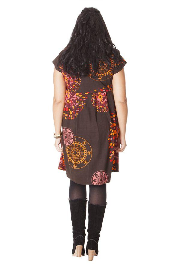 Robe à manches courtes Chocolat Originale et Plissée Allure 286248