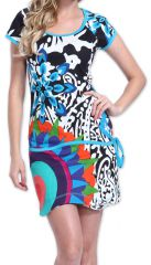 Robe à manches courtes Colorée et Originale Adellia Blanche 276476