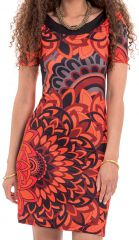 Robe à manches courtes Ethnique et Féminine Calyssa Orange 282164