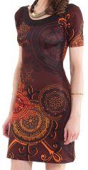 Robe à manches courtes Féminine et Imprimée Calyssa Marron 282170