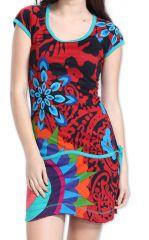 Robe à manches courtes Originale et Colorée Adellia Rouge 276472