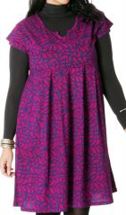 Robe à manches courtes Originale et Plissée Allure Bleue et Rose 286775