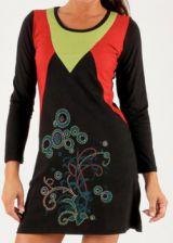 Robe à manches longues Agréable Originale et Colorée Murielle Noire 277905