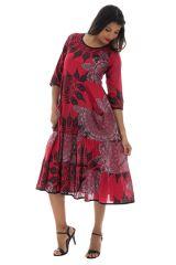 Robe à manches longues ample avec col rond rouge Palmina 289020
