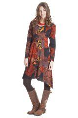 Robe à manches longues Asymétrique et Originale Fanny Rouille 285431