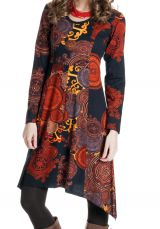 Robe à manches longues Asymétrique et Originale Fanny Rouille 286633