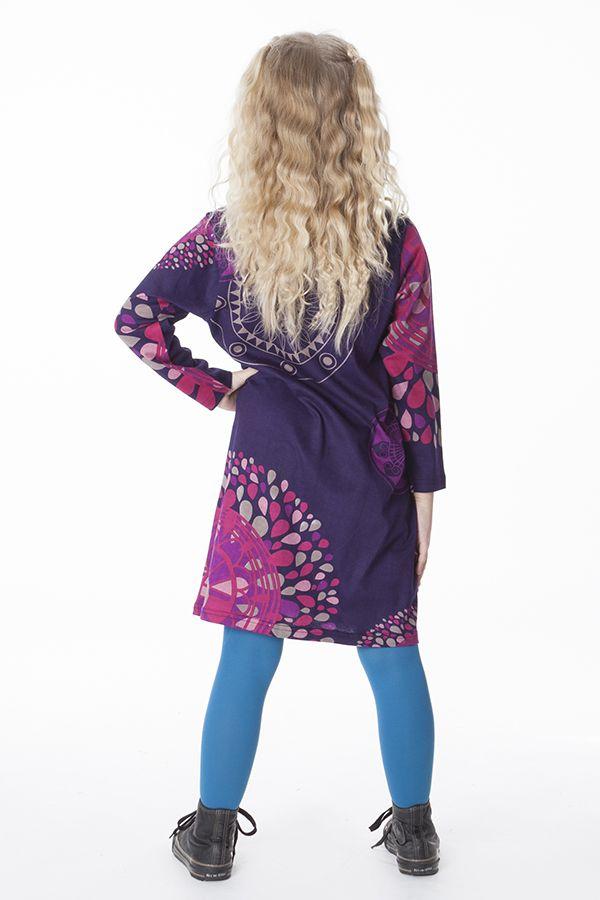 Robe à manches longues avec un imprimé original de rosaces 287325