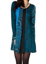 Robe à manches longues Bleue imprimée et féminine Isadora 300869