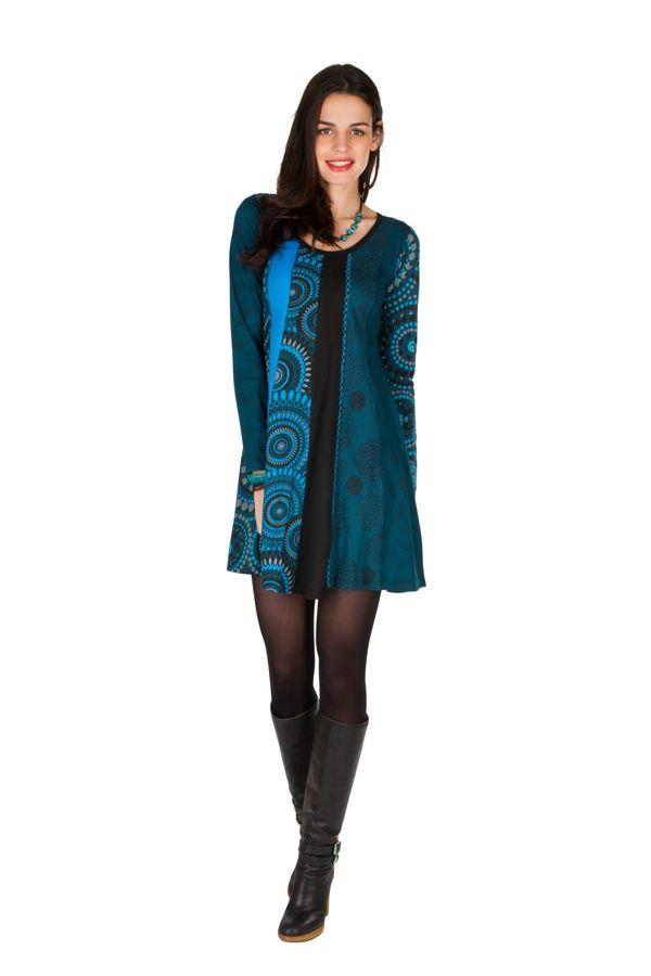 Robe à manches longues Bleue imprimée et féminine Isadora 300870