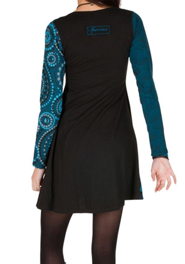 Robe à manches longues Bleue imprimée et féminine Isadora 300875