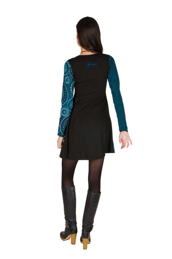 Robe à manches longues Bleue imprimée et féminine Isadora 300876
