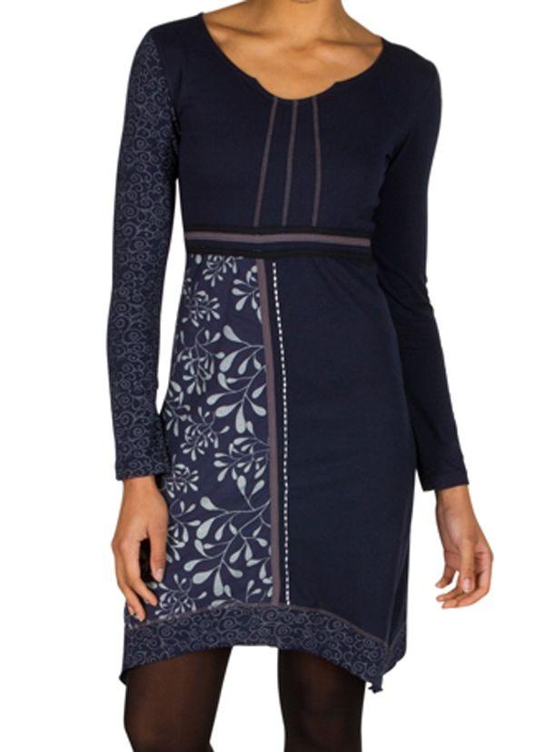 Robe à manches longues Bleue marine mi-cuisse avec col géométrique et imprimés Ella 301160