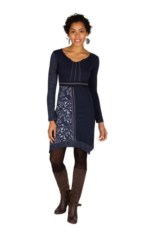 Robe à manches longues Bleue marine mi-cuisse avec col géométrique et imprimés Ella 301161